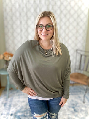 Bold Moves Dolman Top in Olive
