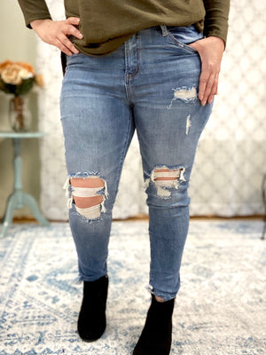 Cut Off At The Knees Judy Blue Skinny Jeans