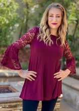 Load image into Gallery viewer, Wine and Lace Bell Sleeve Top