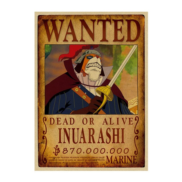 Poster Wanted One Piece Inuarashi