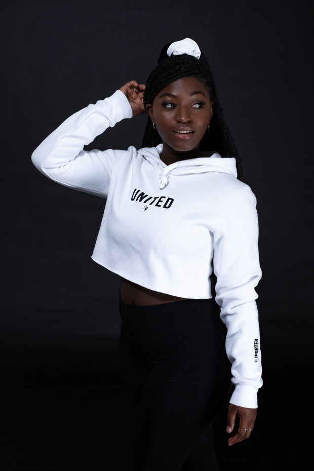 UNITED Womens Crop Hoodie - White