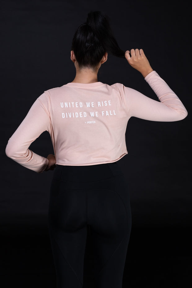 UNITED WE RISE Womens Crop Longsleeve Tee - Pink