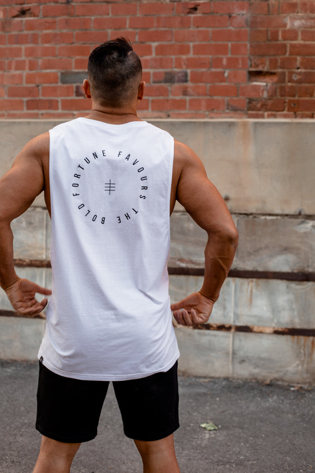 FORTUNE FAVOURS THE BOLD Tank White - JPorter Clothing