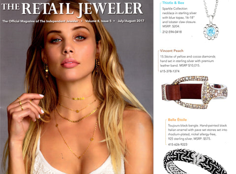 Vincent Peach Handmade Designer Jewelry published in The Retail Jeweler Magazine for Diamond Equestrian Bracelet