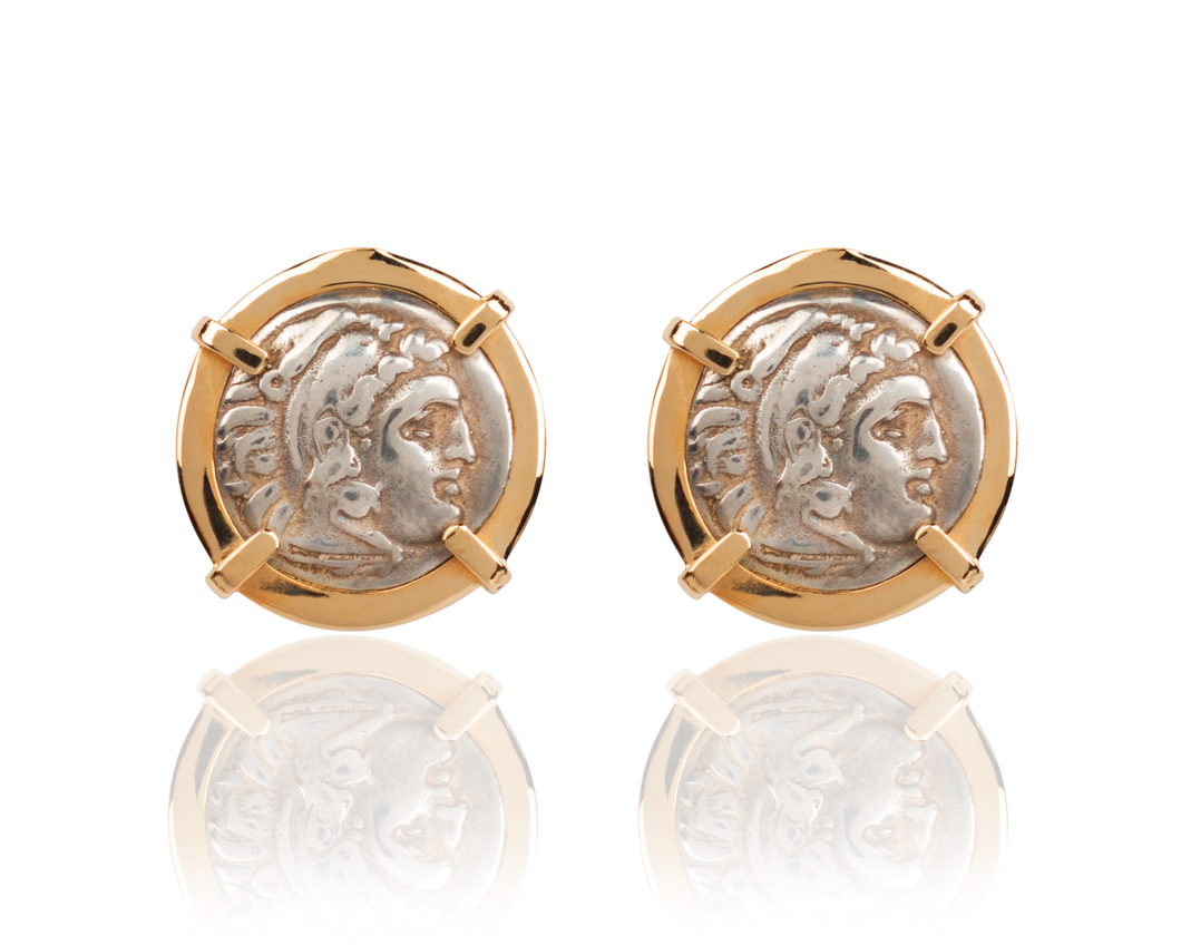 Alexander The Great Coin Post Earrings | 14 Karat Gold