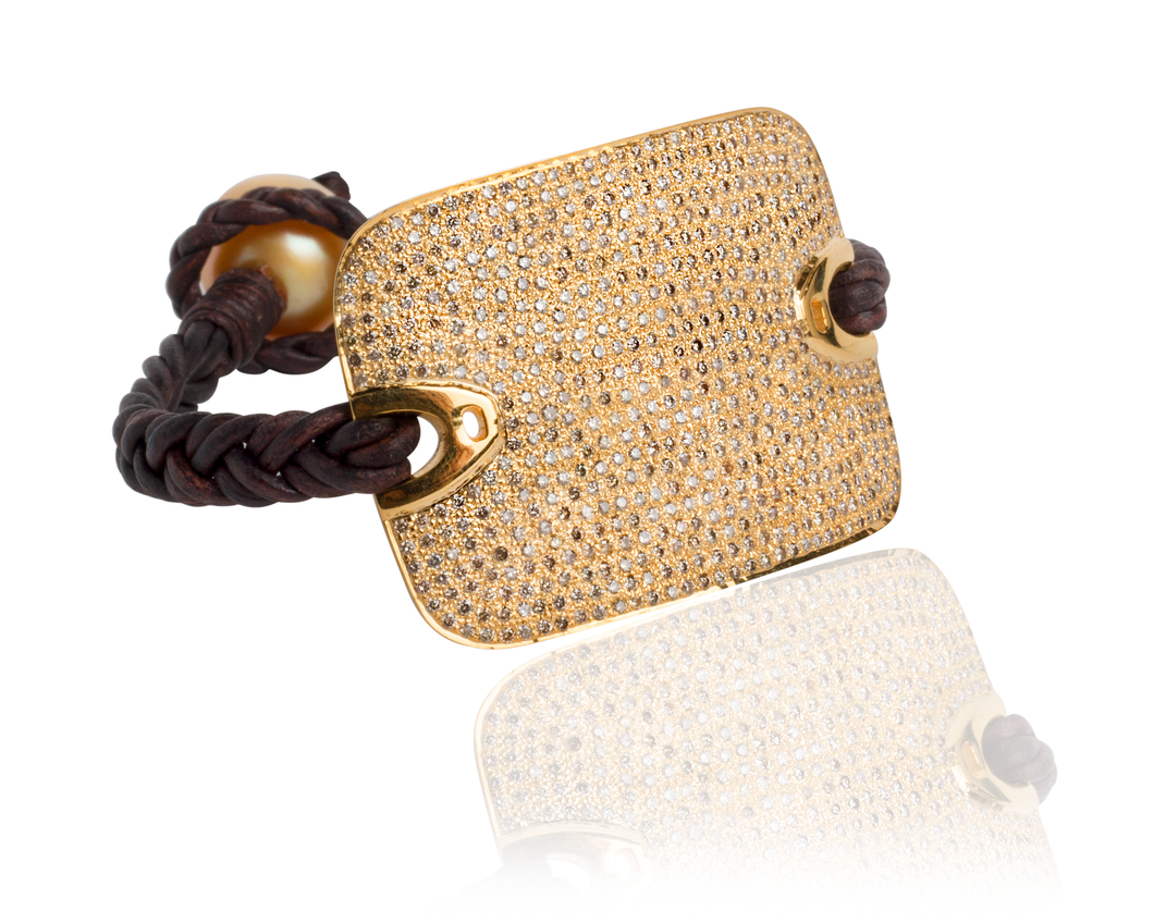 14 kt gold and diamond leather bracelet with gold Australian pearl
