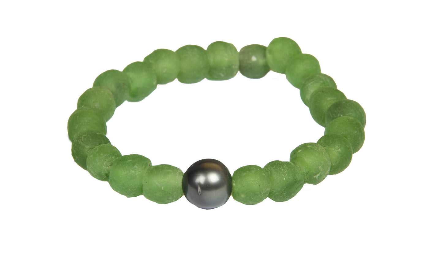 Green Aquatic Sea Glass Bracelet - Hottest Designer Pearl and Leather Jewelry | VINCENT PEACH