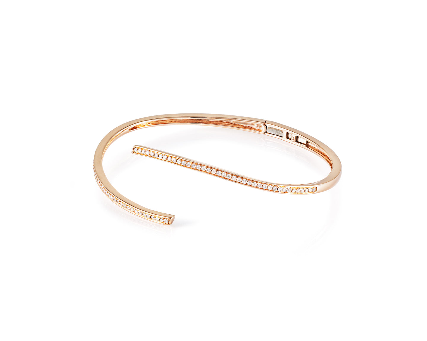 .55ct Diamond, 14kt Rose Gold Open Bangle