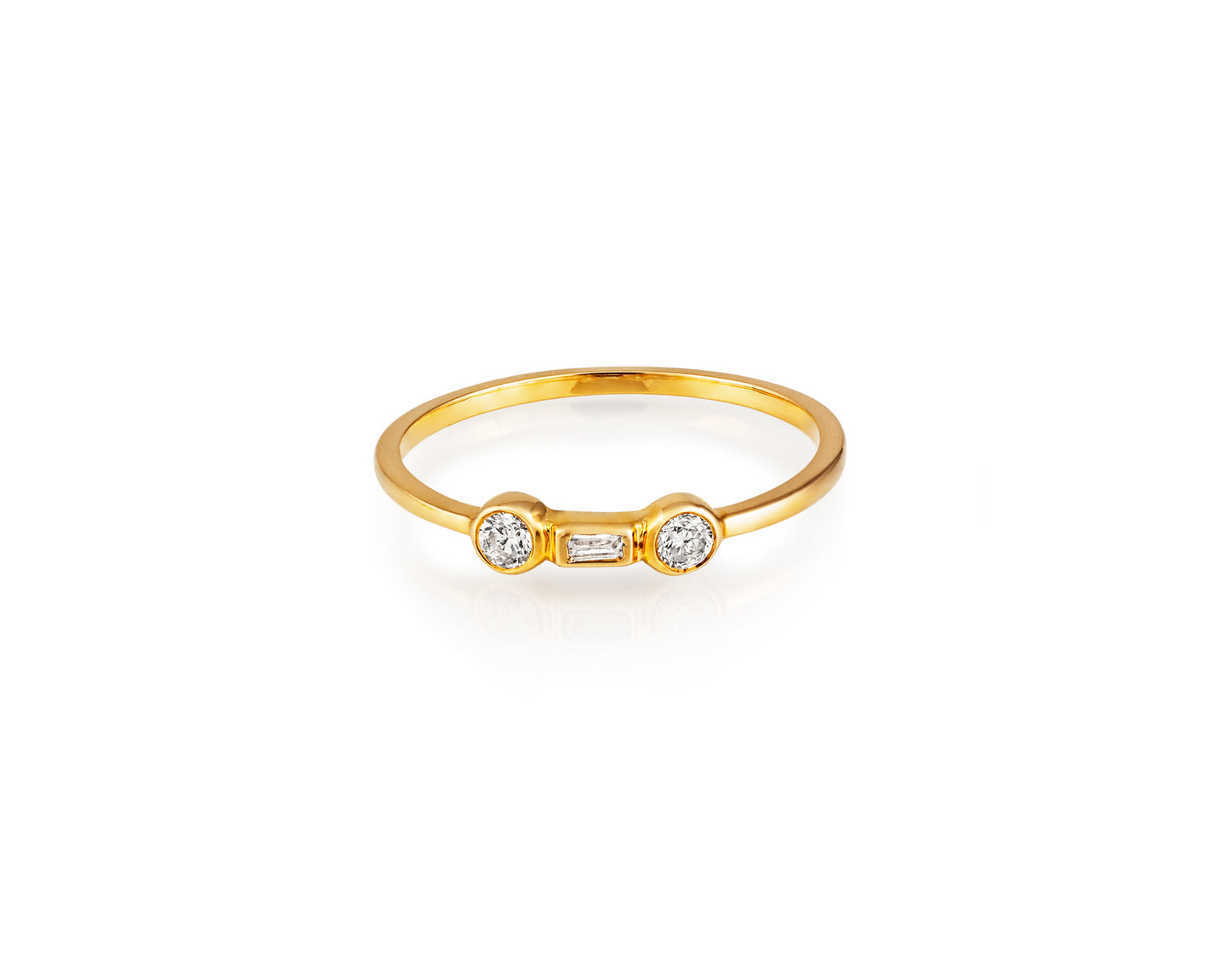Diamond-Trio Stackable Ring