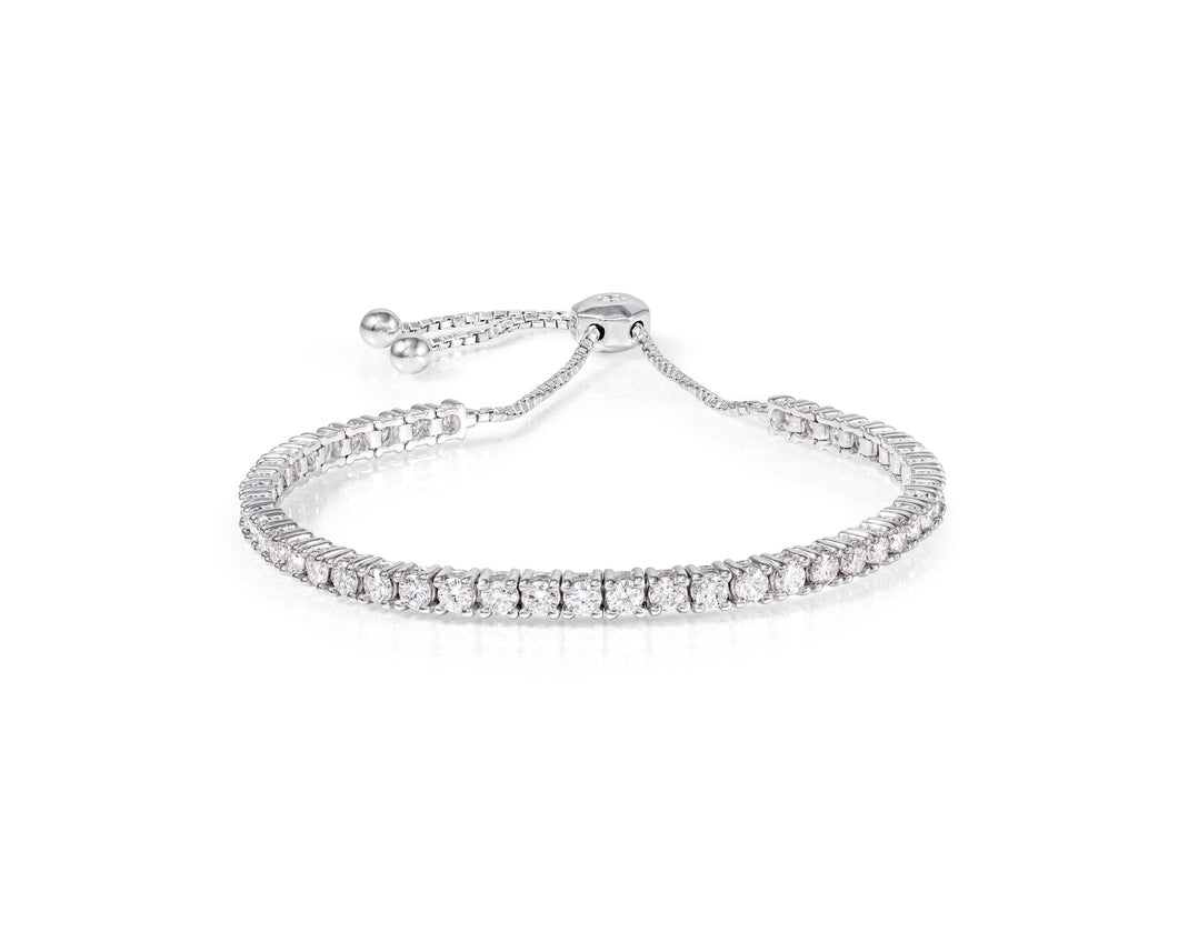 3.04ct Diamond and White Gold Tennis Bracelet