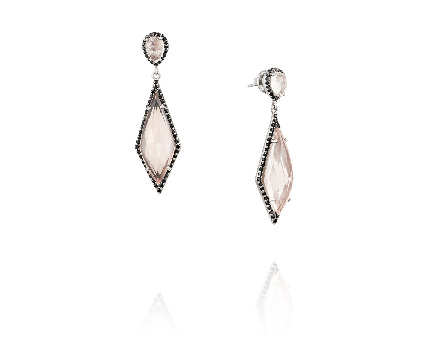 Rose Quartz and Black Spinel Earrings