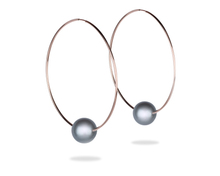 rose gold hoop earrings with black tahitian pearl, pink gold