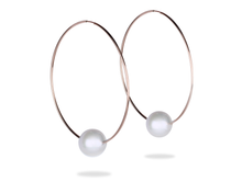 rose gold hoop earrings with freshwater pearl, pink gold