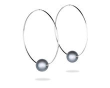 big silver hoop earrings with black tahitian pearl by Vincent Peach Fine Jewelry