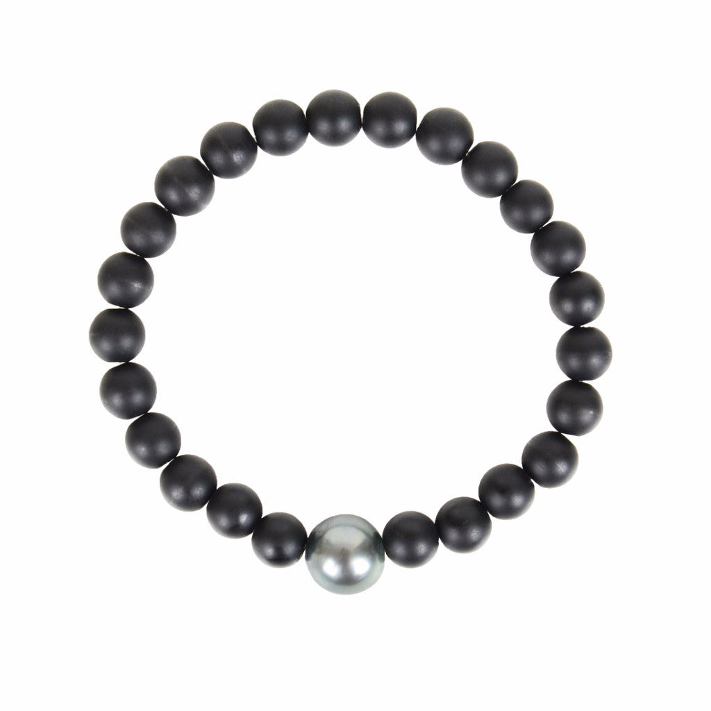 Black Onyx and Tahitian Pearl Bracelet - Hottest Designer Pearl and Leather Jewelry | VINCENT PEACH
