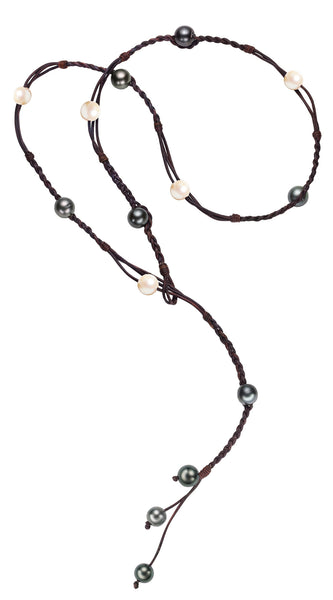 Bohemian Lariat, Freshwater and Tahitian - Hottest Designer Pearl and Leather Jewelry | VINCENT PEACH