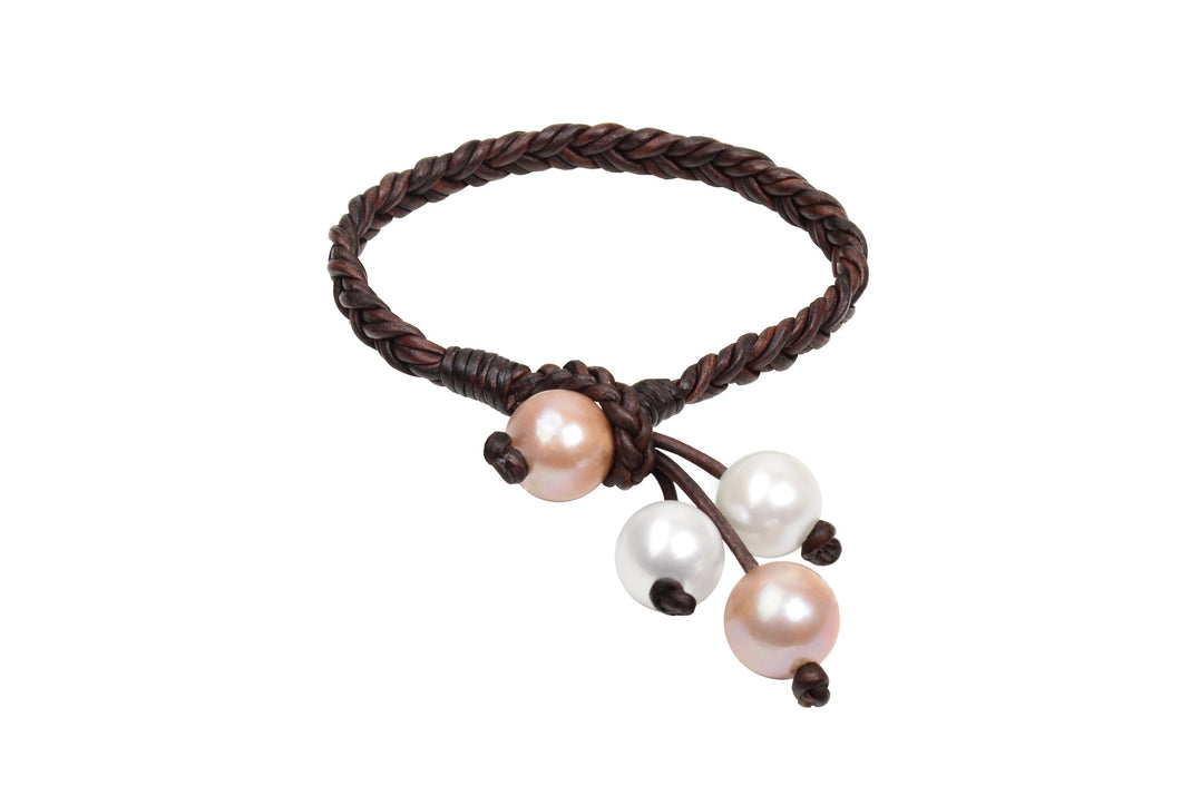 Boho Tassel Bracelet, Pink Freshwater Pearls - Hottest Designer Pearl and Leather Jewelry | VINCENT PEACH
