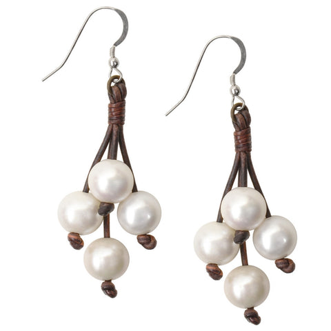 Boho Tassel Earrings, Freshwater - Hottest Designer Pearl and Leather Jewelry | VINCENT PEACH