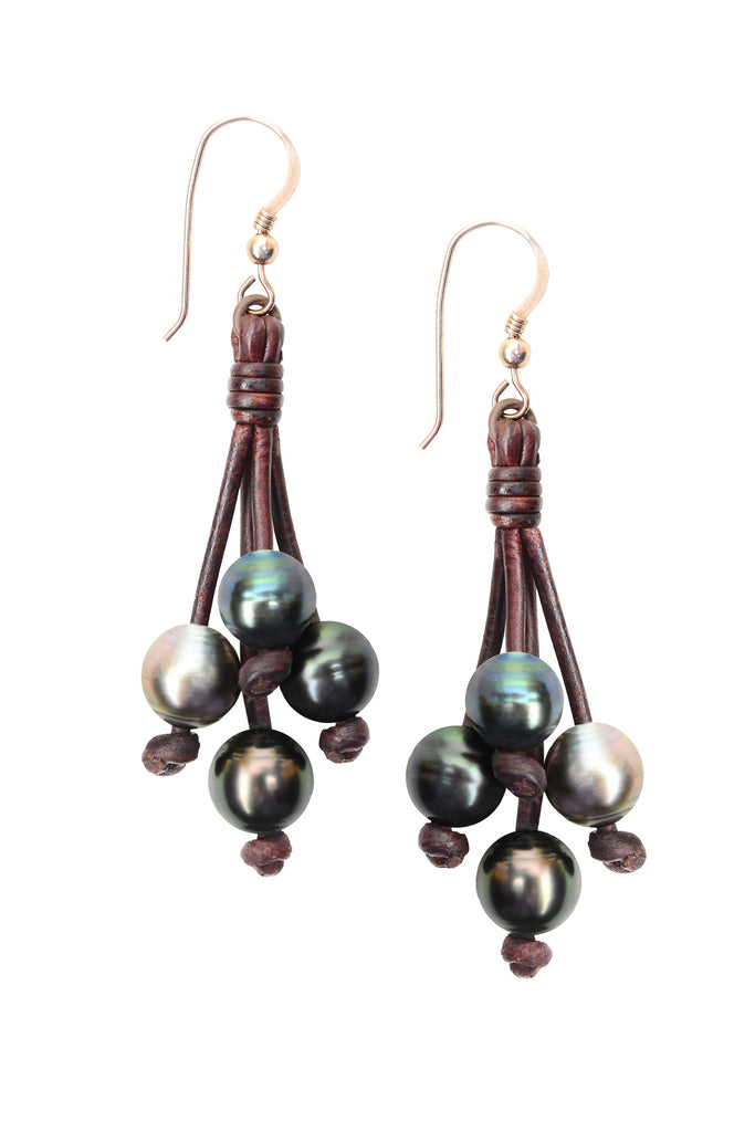 Boho Tassel Earrings, Tahitian - Hottest Designer Pearl and Leather Jewelry | VINCENT PEACH