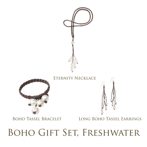 Boho Gift Set, Freshwater - Hottest Designer Pearl and Leather Jewelry | VINCENT PEACH