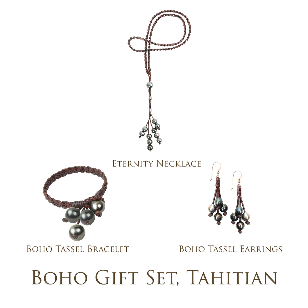 Boho Gift Set, Tahitian - Hottest Designer Pearl and Leather Jewelry | VINCENT PEACH