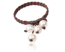 Freshwater Pear and Leather Boho Tassel Bracelet - handcrafted by Vincent Peach Fine Jewelry