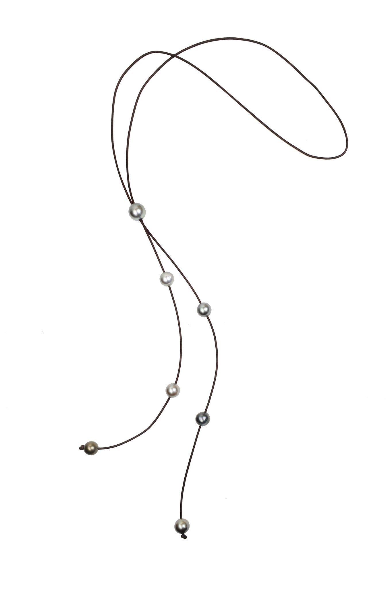 Bolo Cascade Necklace, Tahitian - Hottest Designer Pearl and Leather Jewelry | VINCENT PEACH