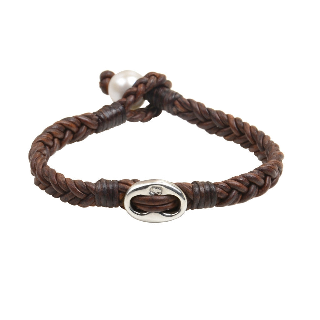Braided Windward Bracelet - Hottest Designer Pearl and Leather Jewelry | VINCENT PEACH  - 1