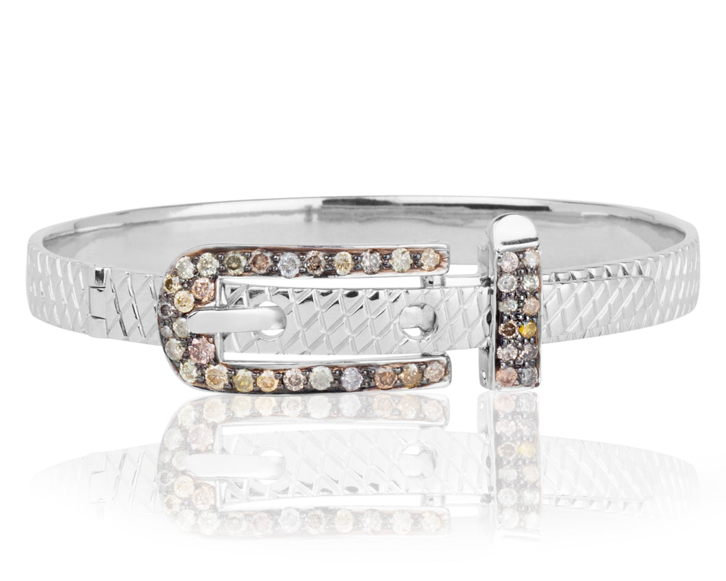 Champagne Diamond Bracelet by Vincent Peach Fine Jewelry - The Brooklyn Bangle - Sterling Silver Buckle