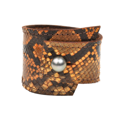 Burmese Python Cuff - Hottest Designer Pearl and Leather Jewelry | VINCENT PEACH