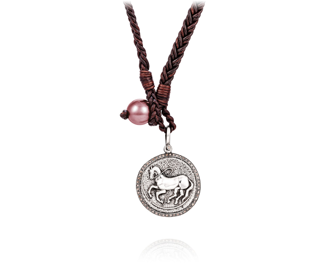 Diamond Trojan Coin Necklace | Pink Pearl