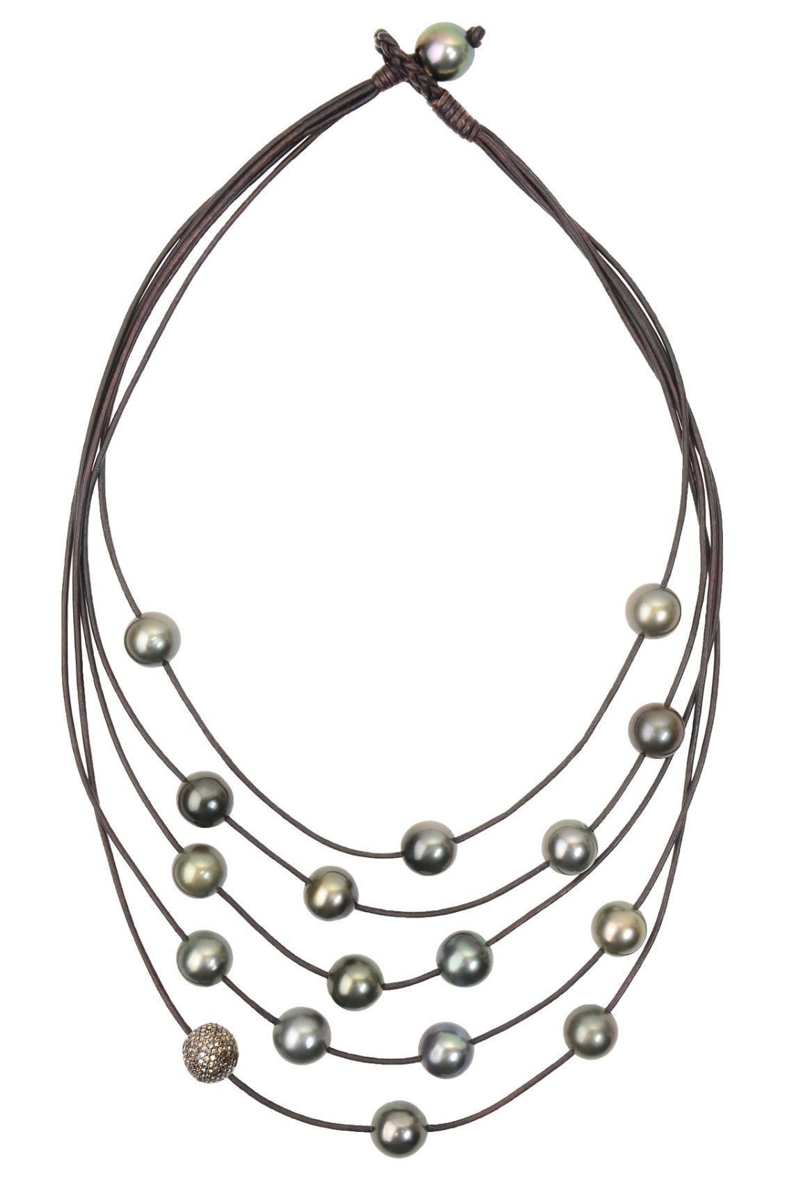 Constellation Necklace, Pavé and Tahitian Pearls - Hottest Designer Pearl and Leather Jewelry | VINCENT PEACH
