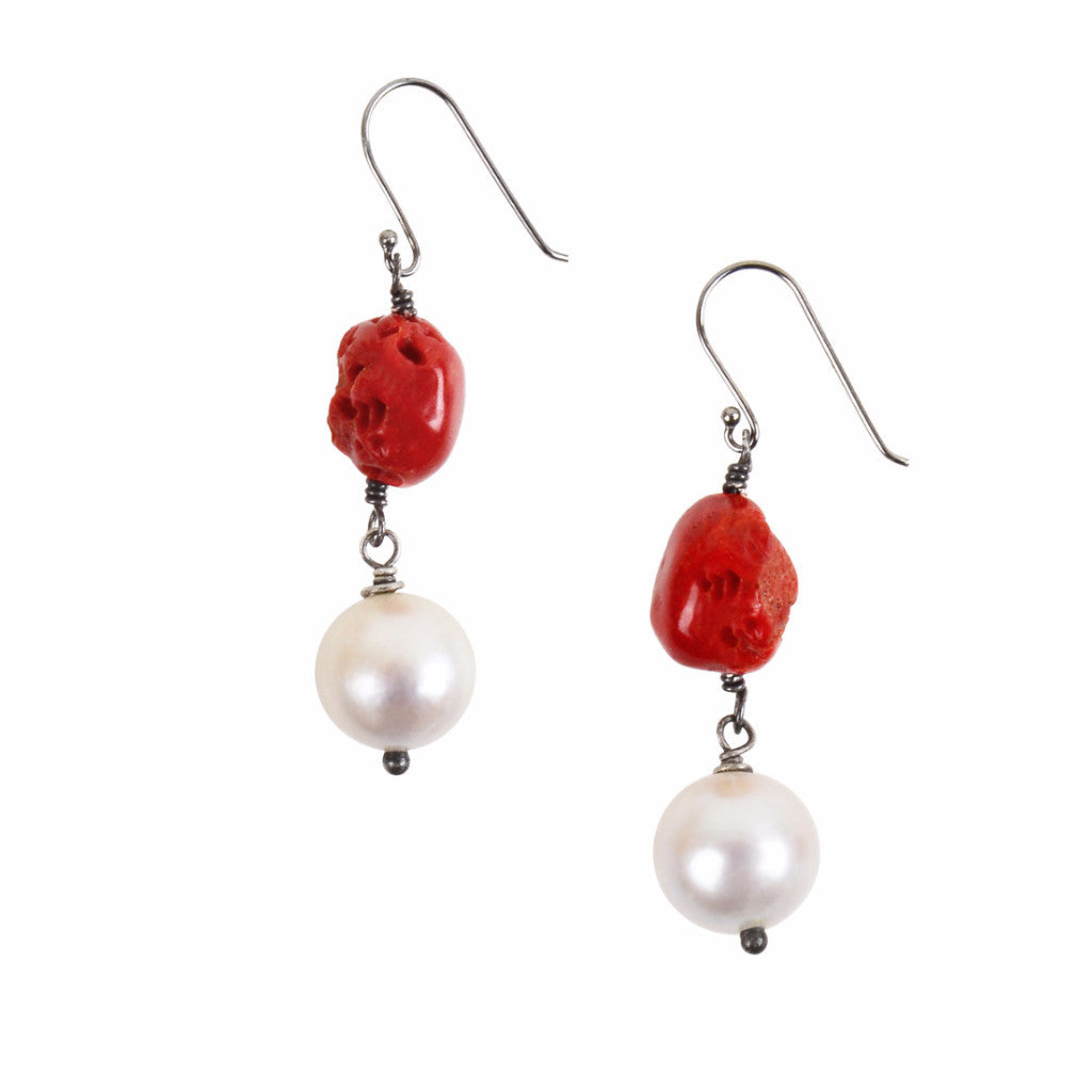 Mediterranean Coral Earrings - Hottest Designer Pearl and Leather Jewelry | VINCENT PEACH  - 2