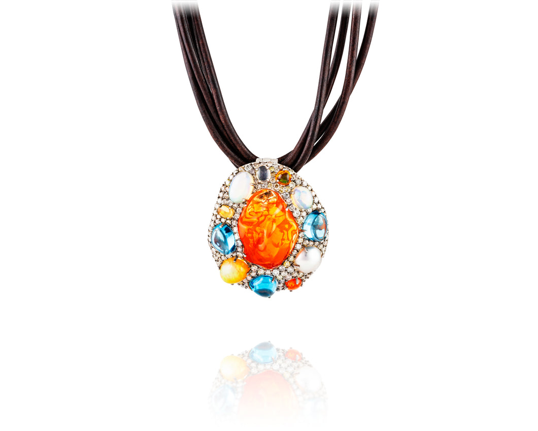 Super Nova Fire Opal Pendant Necklace