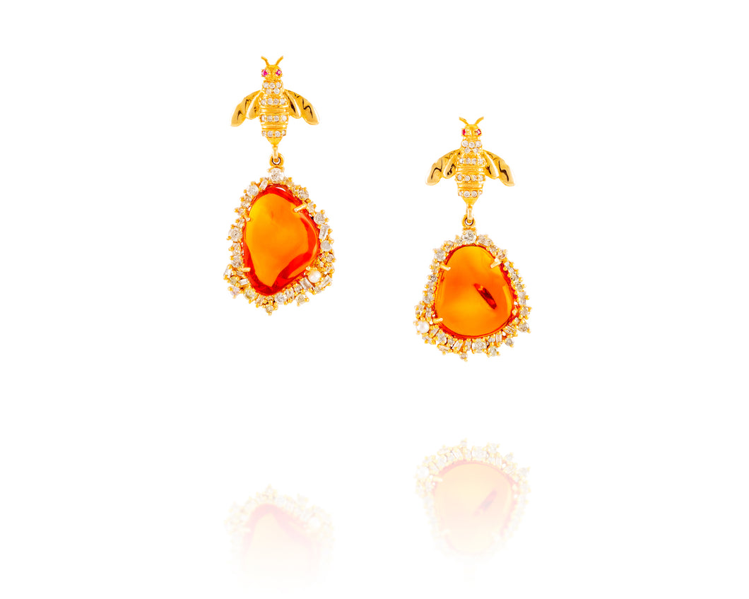 2.35ct Gold Fire Opal Bee Earrings