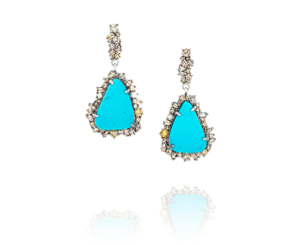 3.87ct Episodic Turquoise Earrings