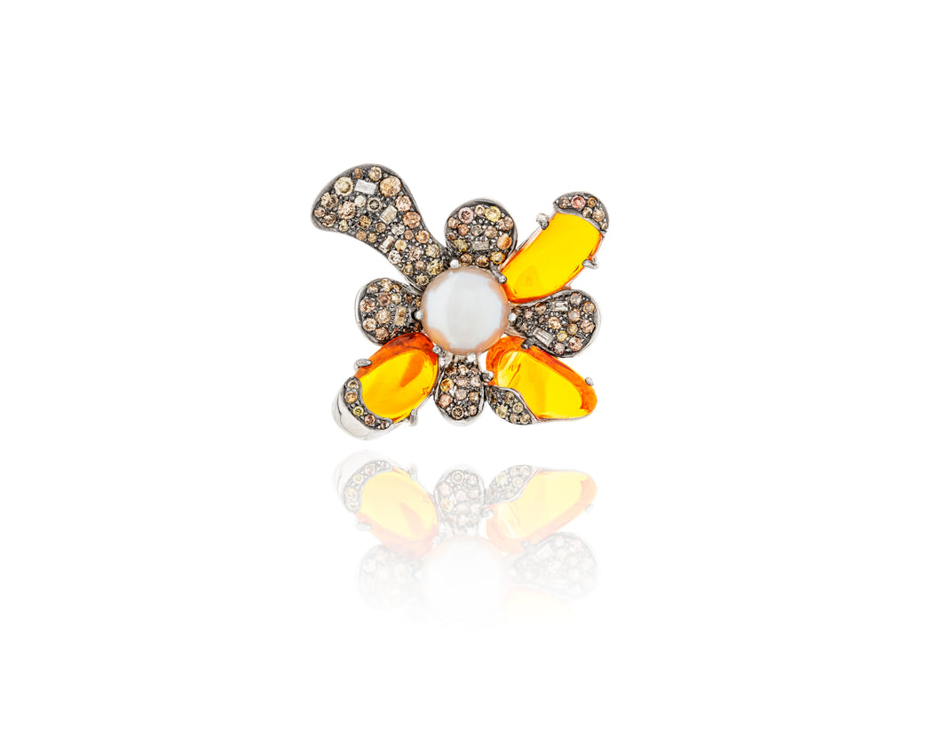 3.15ct Fire Opal Flower Ring