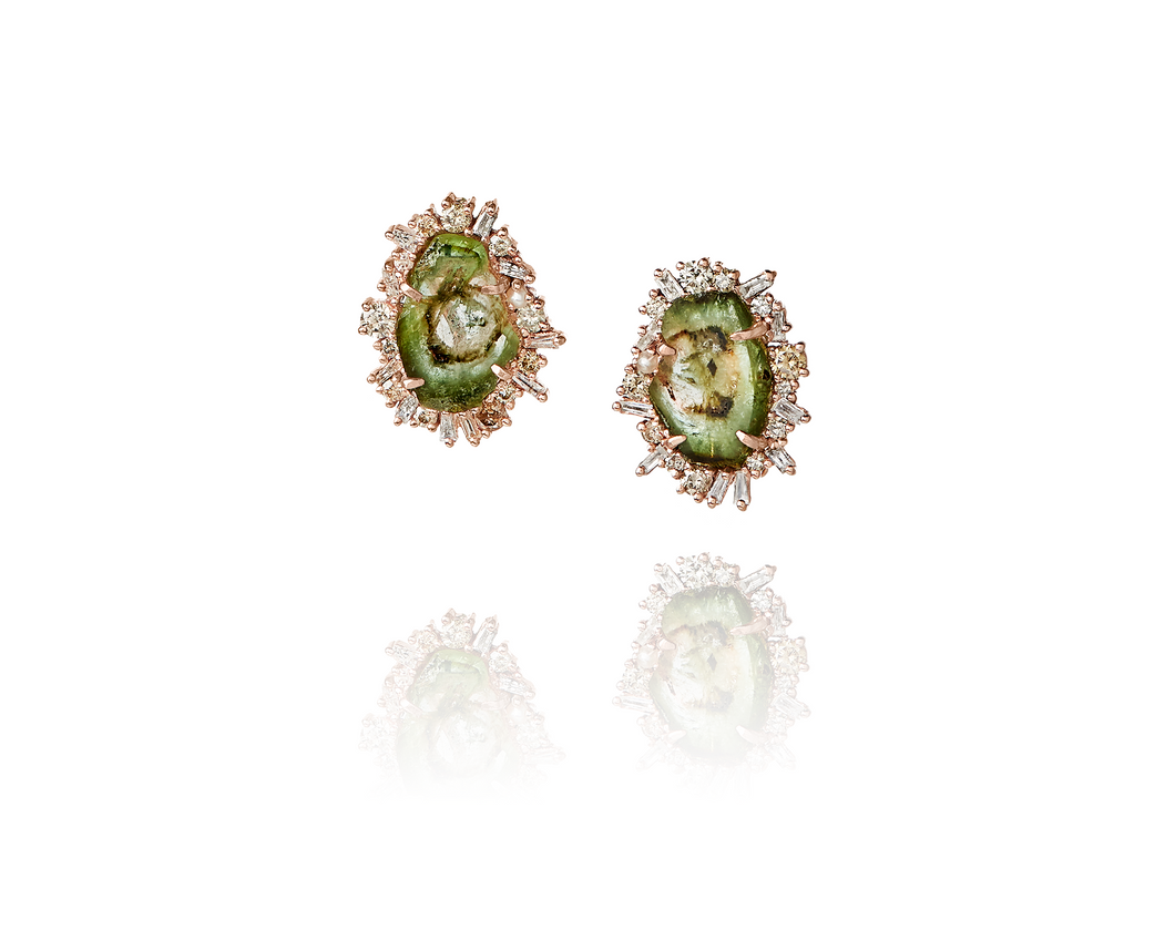 green tourmaline earrings set with episodic diamonds and rose gold