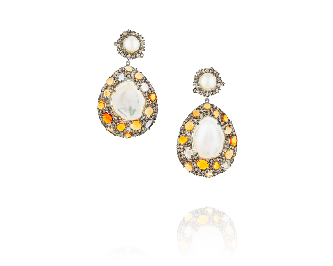9.3ct Fire Opal & Freshwater Pearl Earrings