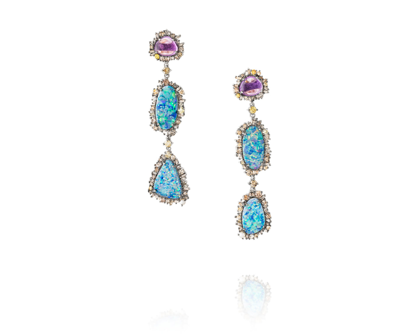 5.6ct Diamond Drop Earrings with Amethyst and Boulder Opal