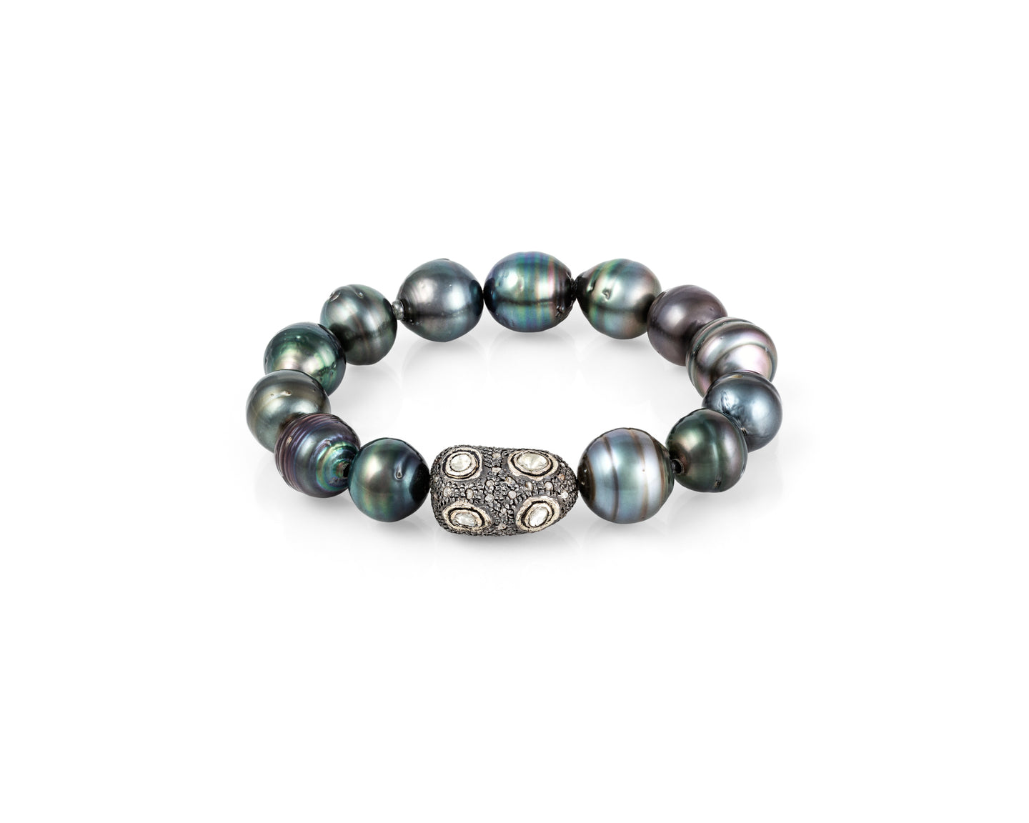 Tahitian Pearl Baroque Diamond Stretch Bracelet