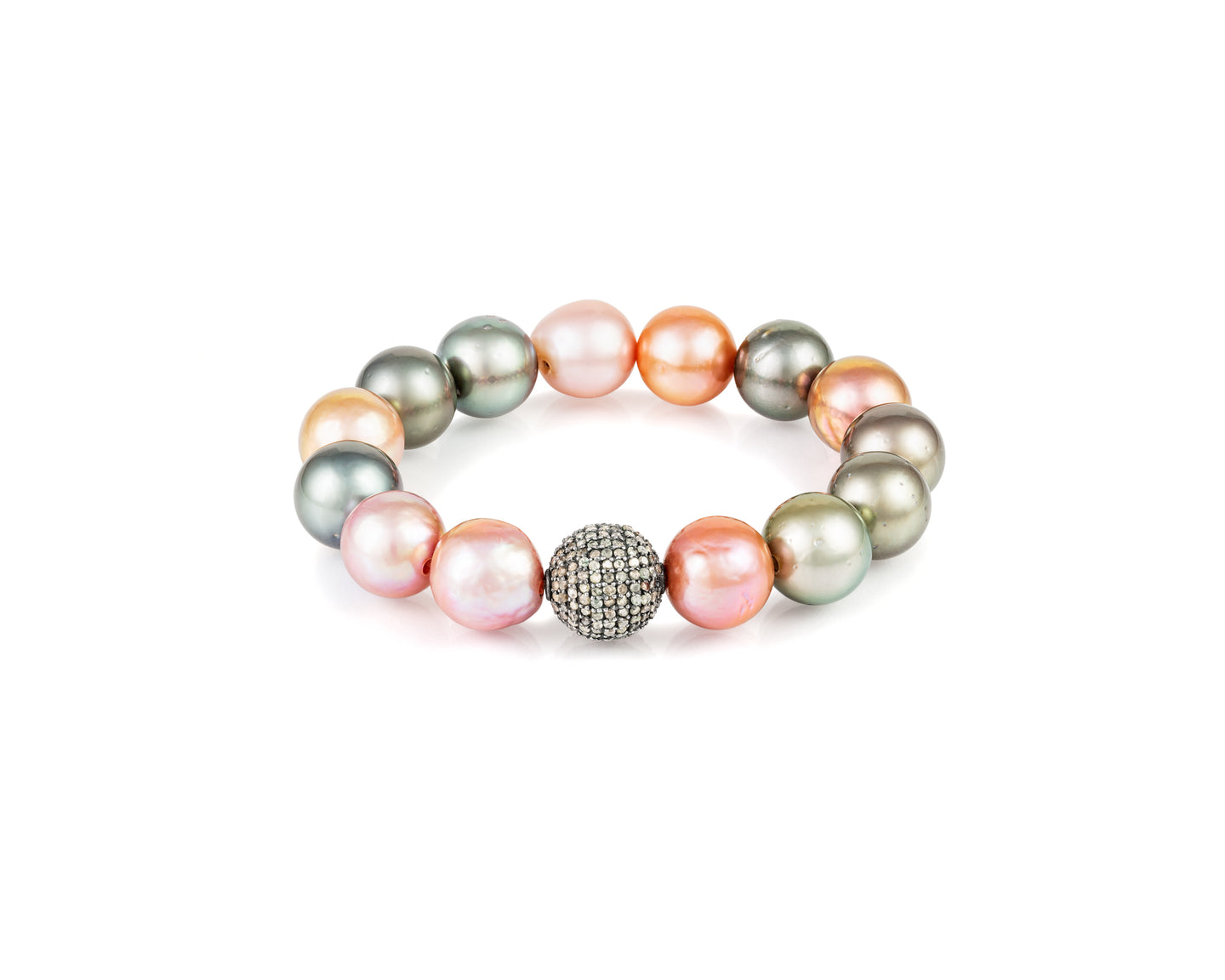 Pavé and Pearl Stretch Bracelet