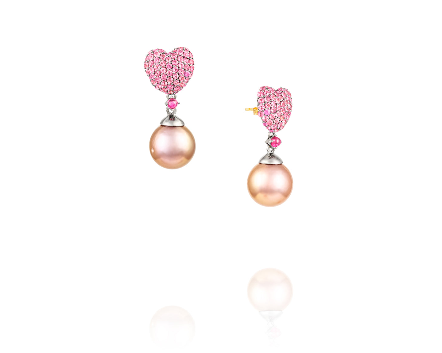 Heart Shaped Sapphire Pearl Earrings