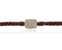 diamond and leather bracelet