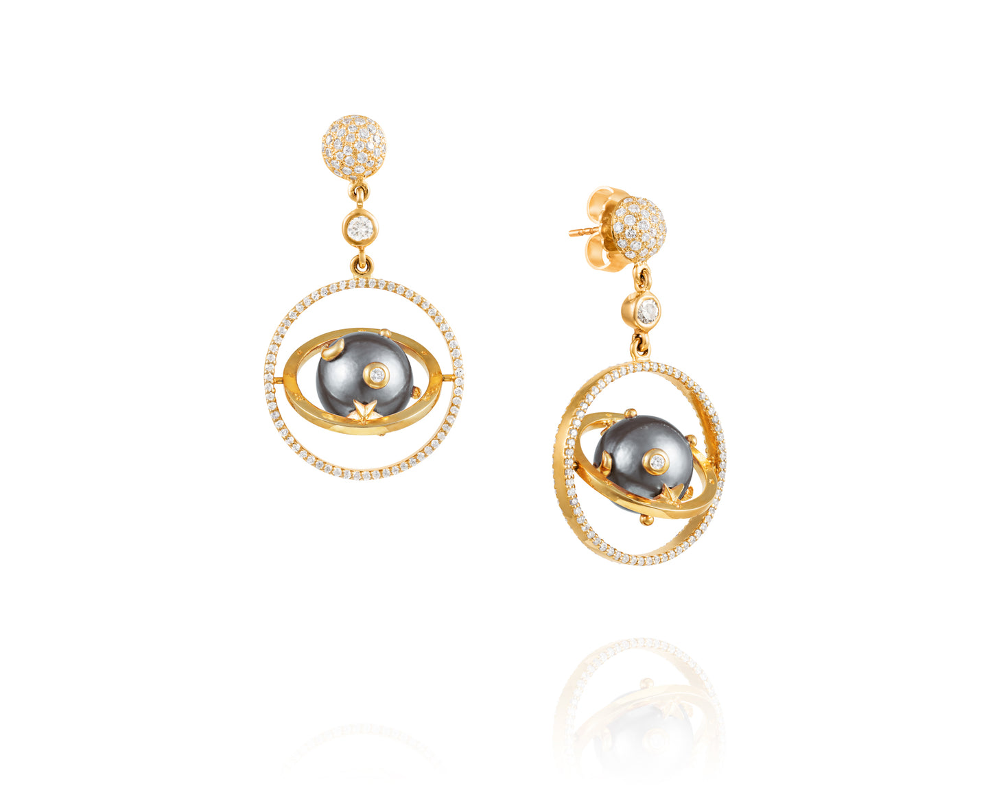 Tahitian Pearl Armillary Diamond Earrings