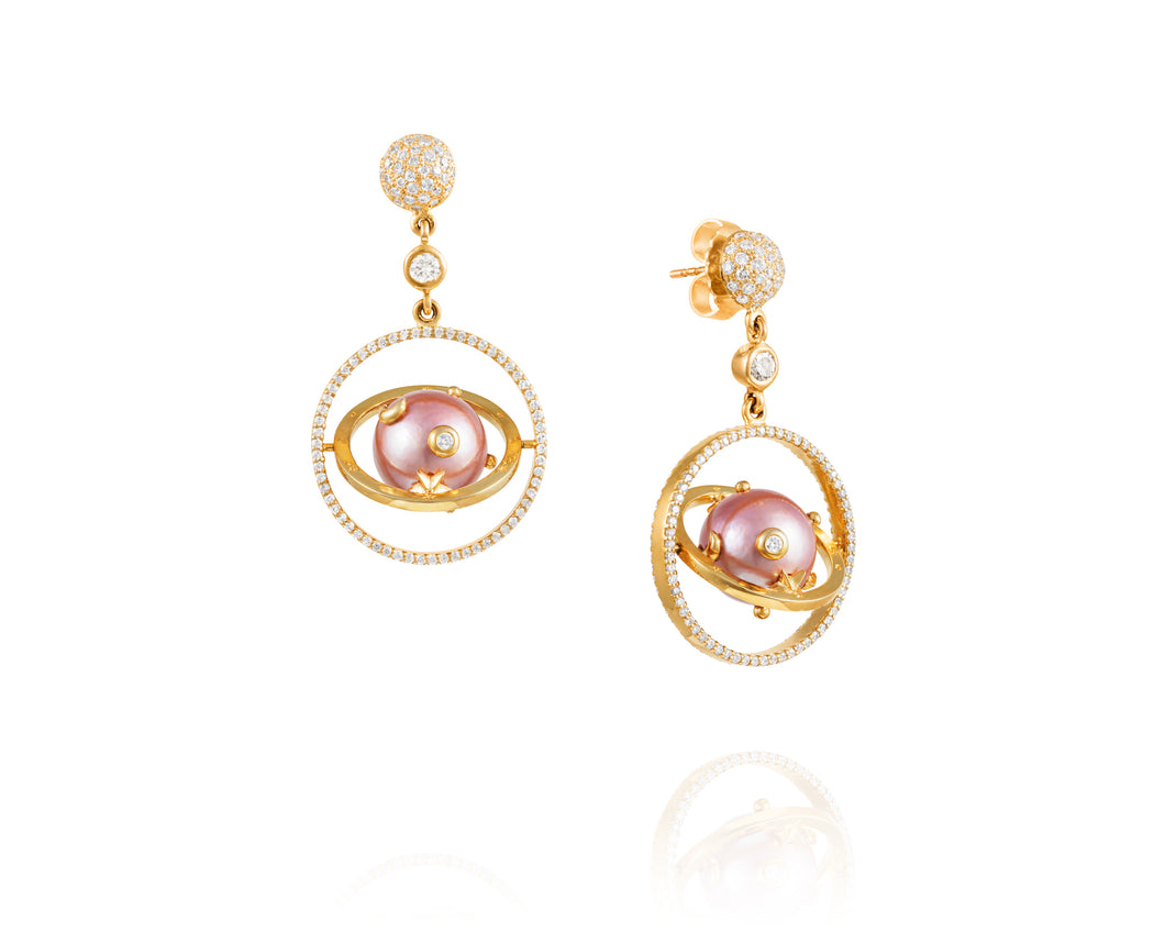 Pink Pearl Armillary Diamond Earrings