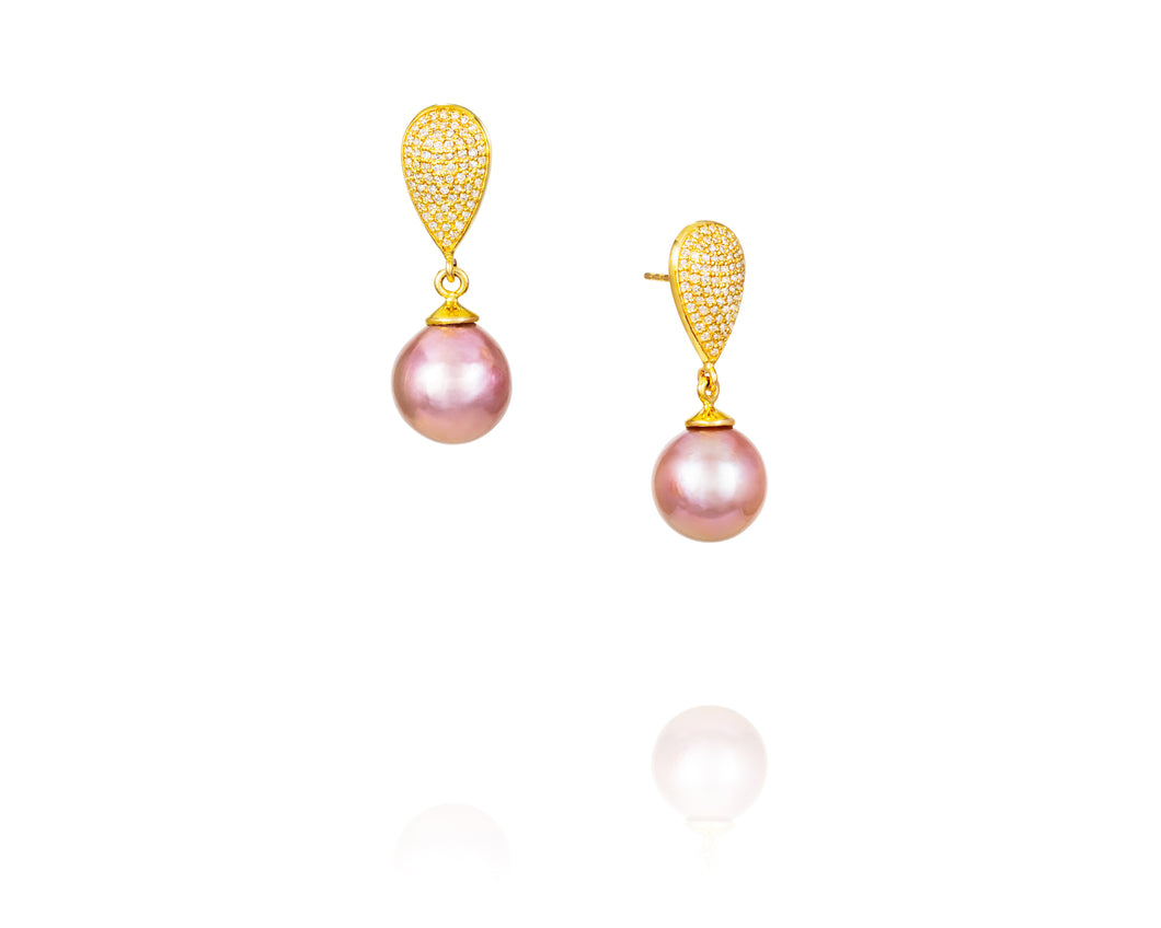 14kt Gold Teardrop Pink Pearl .78ct Diamond Earrings