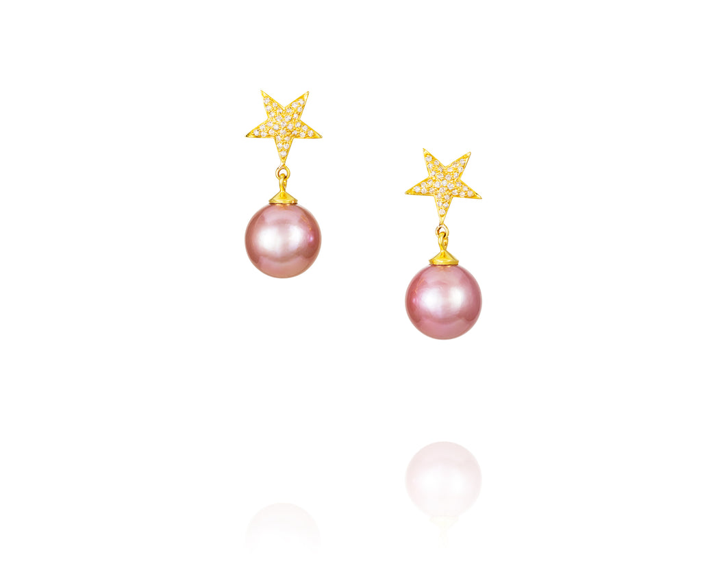 .43ct 14kt Gold Pink Pearl Star Earrings