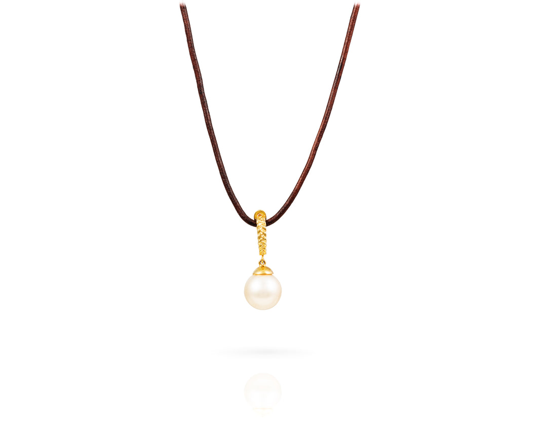 White South Sea Gold Drop Necklace