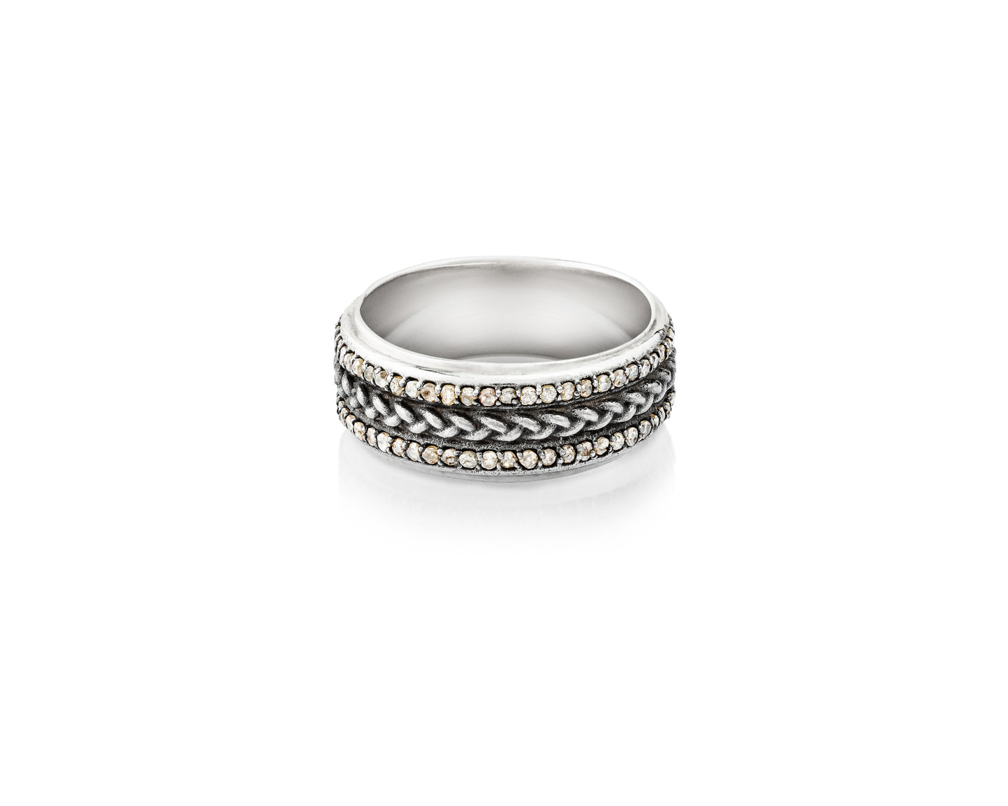 Vincent Peach's signature sterling silver braid flanked by two rows of pavé diamonds.